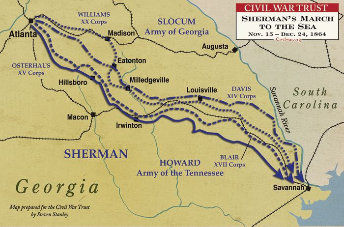 This is a great source of information and images, both original and digital, about Sherman's March to The Sea.  Many people, specifically from the South, have very pointed opinions about Sherman.  Only some of these ideas are based on facts however.  This article is relevant to the study of Georgia History because it accurately explains many of the reasons why Sherman conducted his ruthless march in the manner that he did.