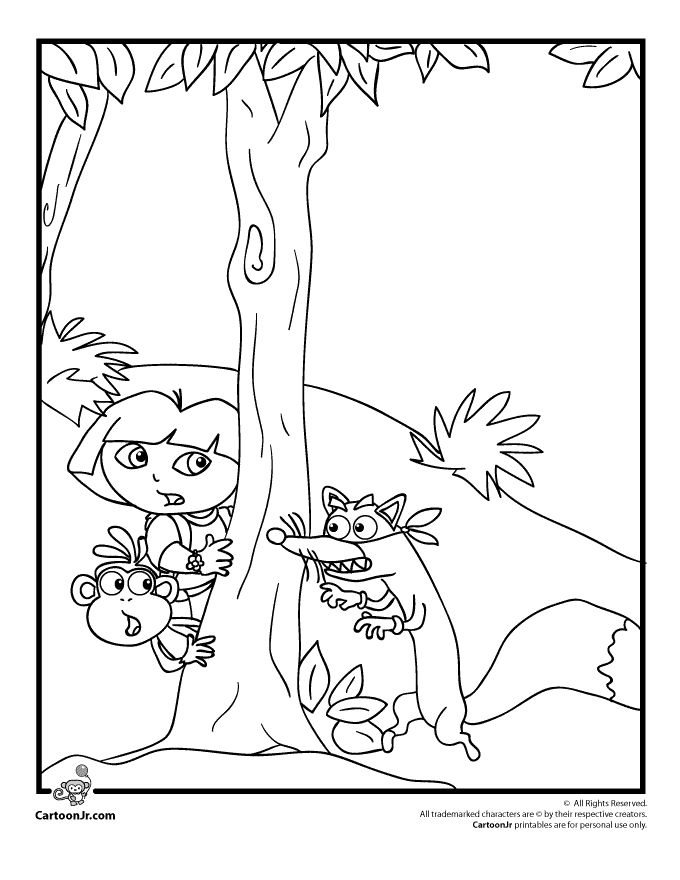 Explorer Coloring Pages Dora Boots And Swiper The Fox