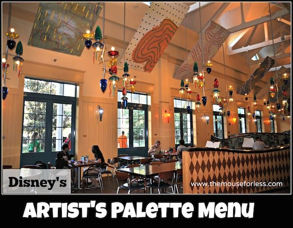 Menu for The Artist's Palette at Disney's Saratoga Springs Resort & Spa at Walt Disney World. Selections include breakfast, flatbreads, paninis and more.
