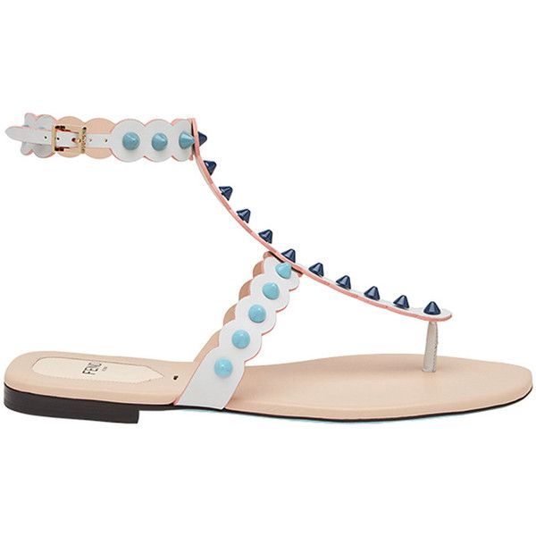 Fendi studded open-toe sandals ($745) ❤ liked on Polyvore featuring shoes, sandals, white, open toe sandals, studs shoes, thong strap sandals, white shoes and white open toe shoes