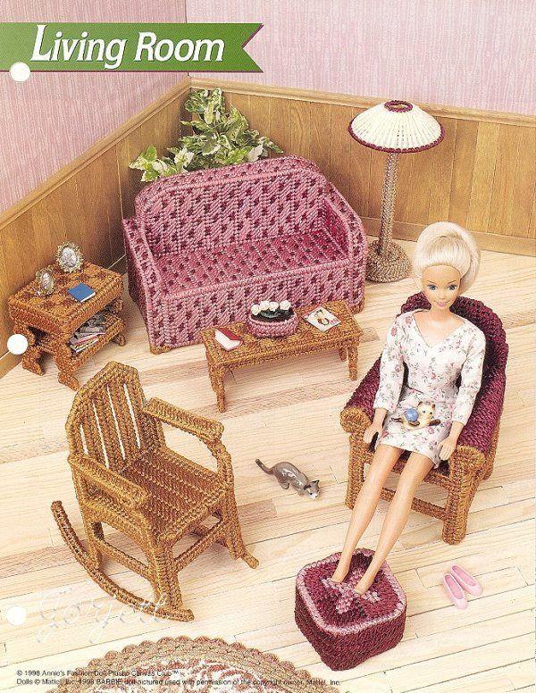 Details About Living Room Set Annie 39 S Plastic Canvas Patterns Fit Barbie Dolls Oop Rare