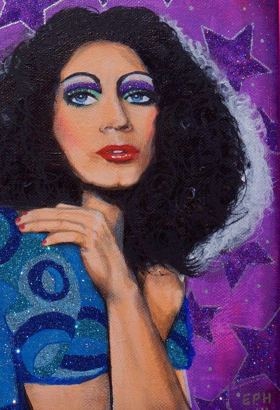 Drag Kitsch: Glitter Holly Woodlawn Original Painting! #warhol #superstar