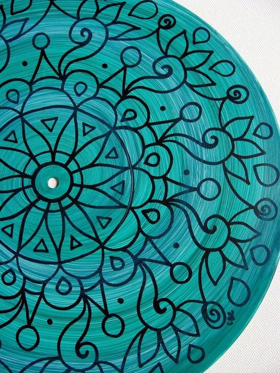 Plato color turquesa oscuro arte pintura de Mandala por EyePopArt
