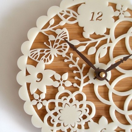 doily clock: 01 Clocks, Idea, Laser Cut, Lasercut, Kiri 01, Cut Clocks, Wall Clocks, Bamboo Clocks, Ticking Tock