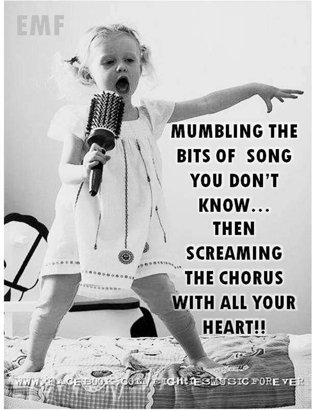 That moment when you don't know the lyrics, so you wait for the part you do know and then start screaming.