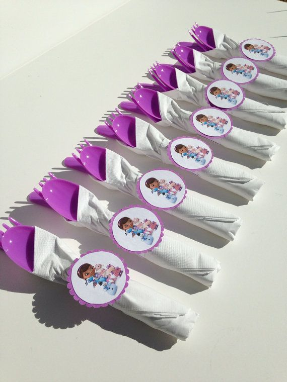Doc Mcstuffins Birthday Party Decoration, wrapped cutlery by AlishaKayDesigns
