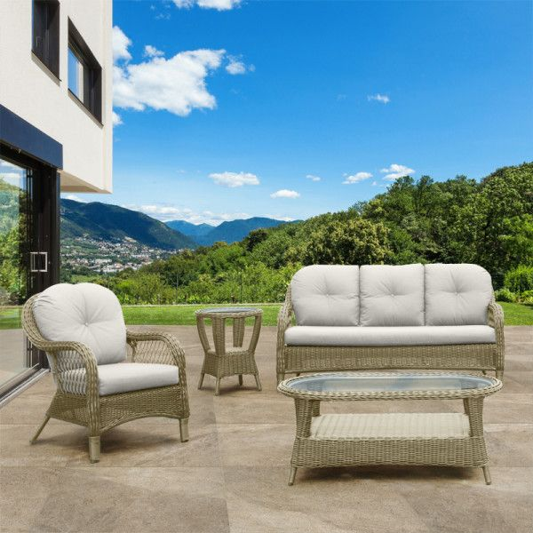 Traliccio Outdoor Lounge Suite. # seater couch and armchair from woven wicker.