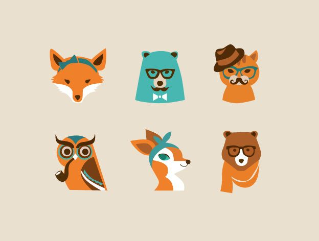 #Animal #logo graphics work great when you're going for a #hipster casual look for your project. Here's a set of some interesting Hipster Animals Logos to add a fun presence in your #design.