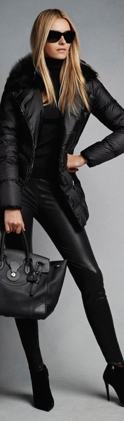 Chic Outerwear and Jackets from Ralph Lauren Black Label / BLACK LABEL BELTED BIKER DOWN COAT