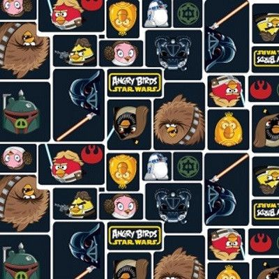Angry Birds Star Wars Black Cotton Fabric for Children - Sparkly Fabric