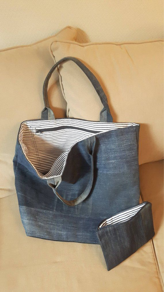Bag Tote, handbag recycled denim jeans panels assemblage recycled and its matched case feel free to contact me