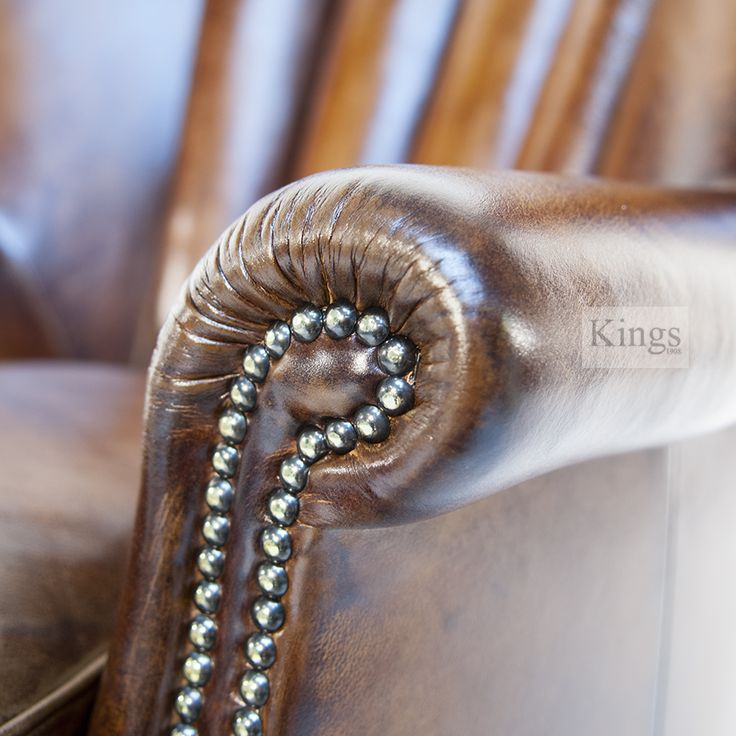 Contrast Upholstery Beardsley Chair in Antique finish leather, arm detail. /www.kingsinteriors.co.uk/brands/contrast-upholstery