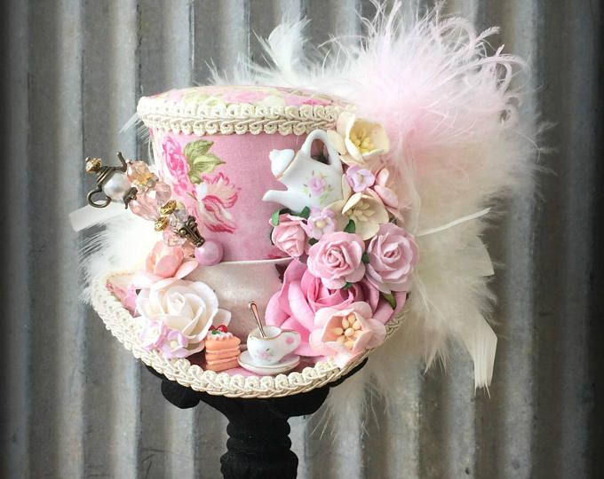 Mini Top Hat, Rose Tea Cup hat, Pink Tea Pot Alice in Wonderland, Mad Hatter Hat, Tea Hat, Mad Hatter Tea Party, Pink roses Tea Hat