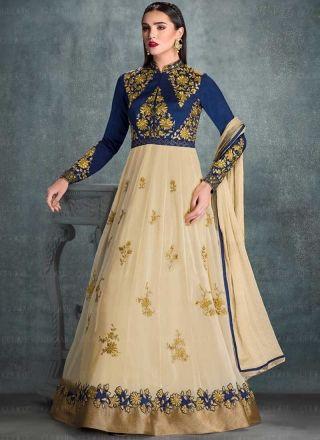 Blue Beige Embroidery Zari Work Georgette Anarkali Long Designer Gown Suit