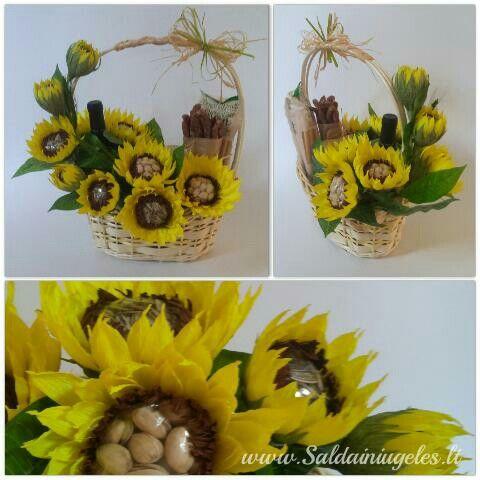 Sunflowers gift basket