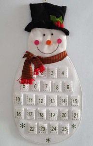 Calendário do advento da tela da contagem regressiva do Natal do boneco de neve de feltro dos produtos de Delton