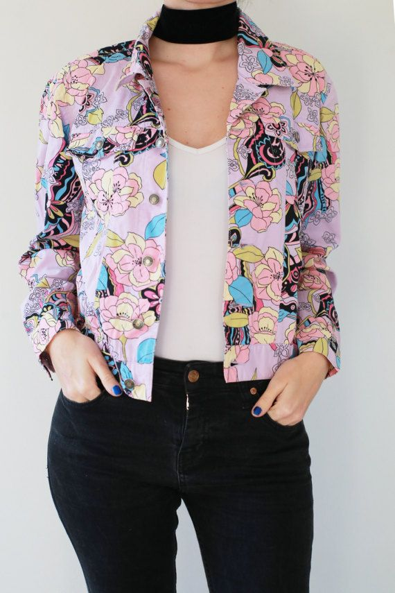 Woman Floral 90s Jacket / Woman Spring Jacket / Woman Light