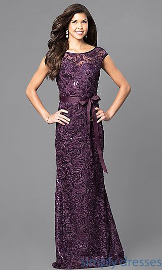 Shop long sequined formal lace dresses at Simply Dresses. Long gowns for bridesmaids or mother-of-the-bride with cap sleeves and ribbon sashes.
