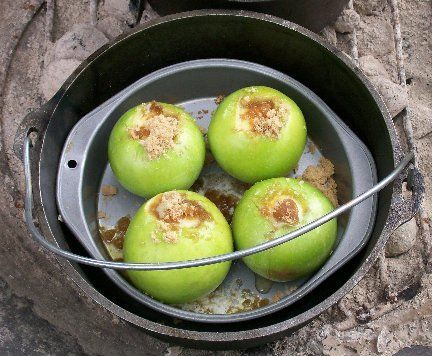 Dutch Oven Baked Caramel Apples camping! .. I wouldn't use the splenda but otherwise ~delish