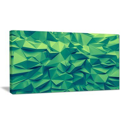 """DesignArt 'Trendy Emerald Green Background' Graphic Art Print on Wrapped Canvas Size: 16"""" H x 32"""" W x 1"""" D"""