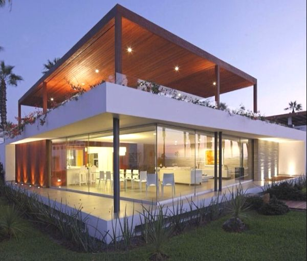 fachadas de casas com vidro e madeira