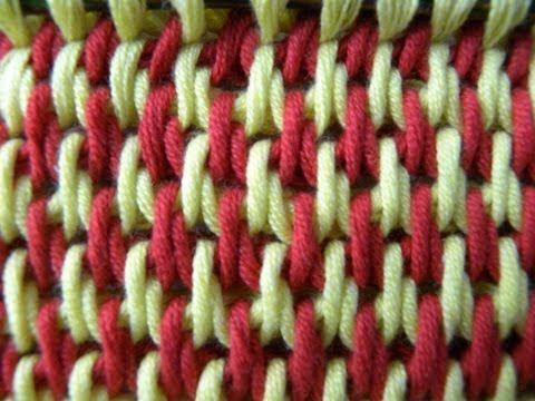 Tunisian Crochet - Fill - two-color (IN GERMAN - If you are familiar with Tunisian Crochet you can watch this video to learn this stitch... The video is very good... Deb)