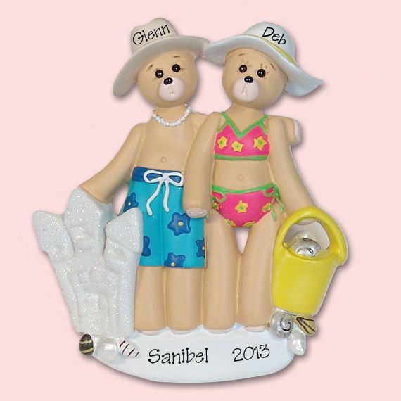 Belly+Bear+Beach+Couple+Hand+Painted+RESIN+by+PersonalizedOrnament