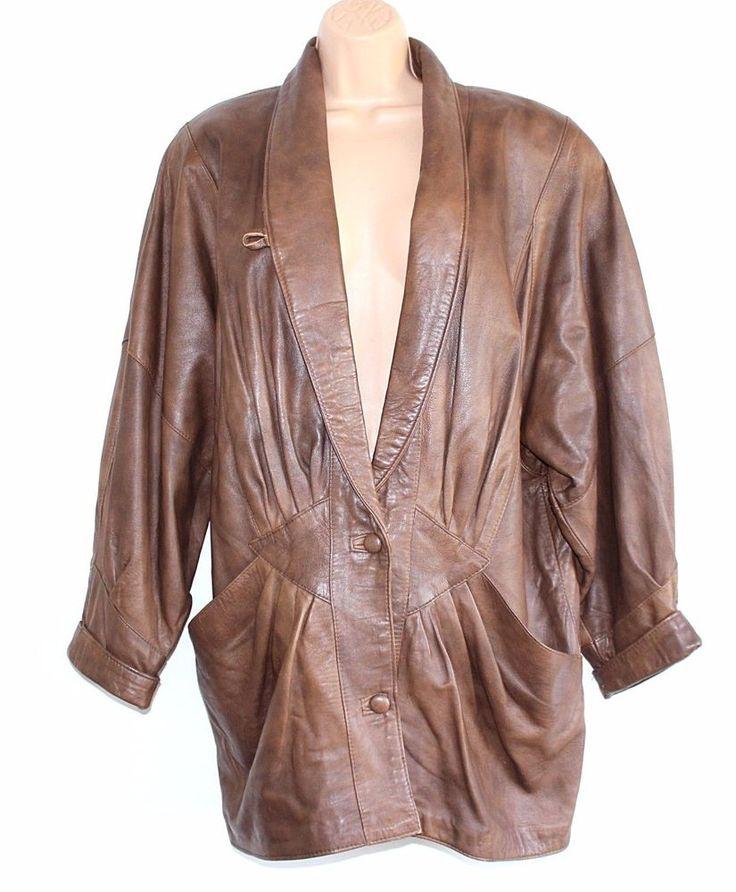 VTG 80's Brown 100% Real Leather Button Ladies Parka Coat Jacket Size UK 14 UK16