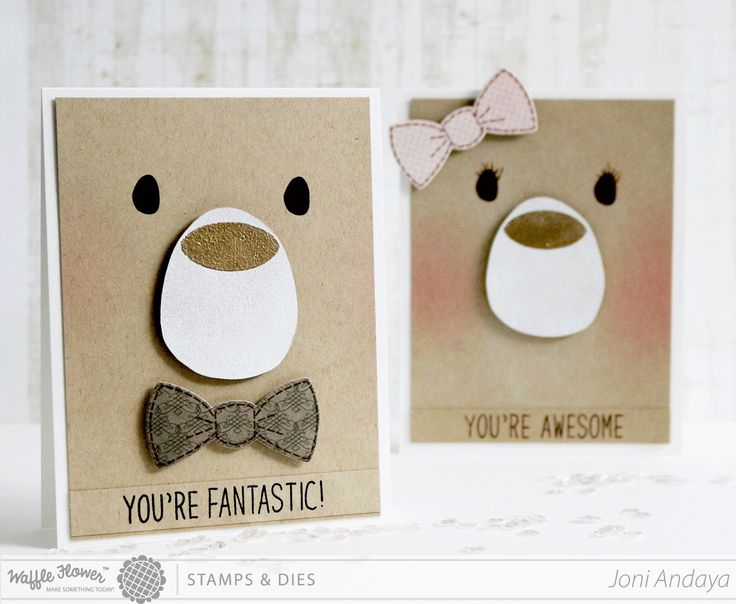 bear gender cards for Kids by Joni Andaya... it's all in the placement of the bow.... love the touch of blush, too!