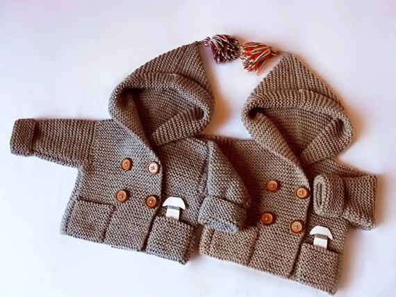Hand Knit  hooded Coat for Baby  Pure Wool or Cotton by Pilland, $98.00