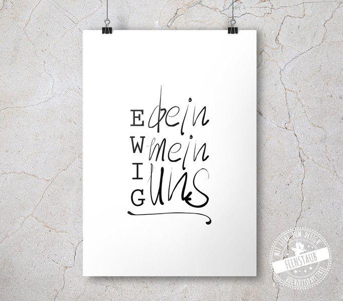 Hochzeitsdeko - Leinwand, Poster, Hochzeitsgeschenk Ewig dein - ein Designerstück von Feenstaub-Papeterie bei DaWanda