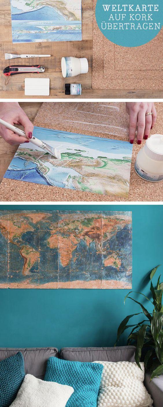 DIY-Anleitung für selbstgemachte Wanddeko: Weltkarte auf Kork übertragen / diy tutorial: world map made of cork, wall decoration, selfmade home decor via DaWanda.com