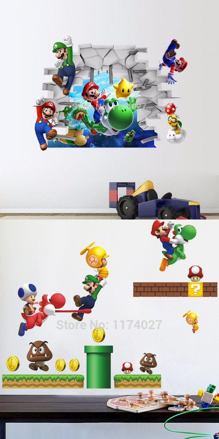 New 3d Super Mario Bros Cartoon Vinyl Wall Stickers For Interiors Inside Ideas Interiors design about Everything [magnanprojects.com]