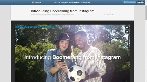 """Boomerang"" is a new video application ""that lets you turn everyday moments into something fun and unexpected"