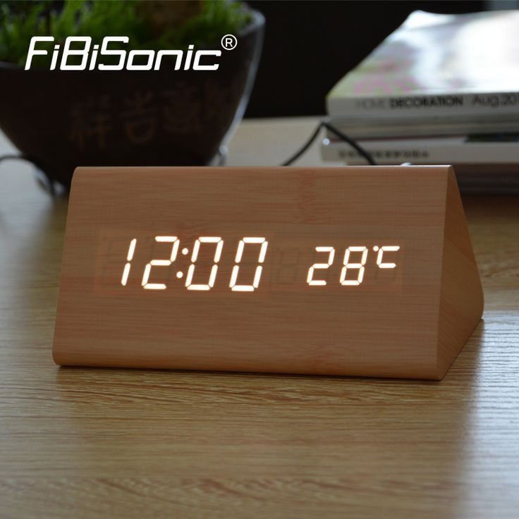FiBiSonic Wood Wooden Digital LED Alarm Clock, Sound Control Desktop Clocks with Temperature, Electronic Display Home Decor //Price: $1406.82 & FREE Shipping //     #hashtag1