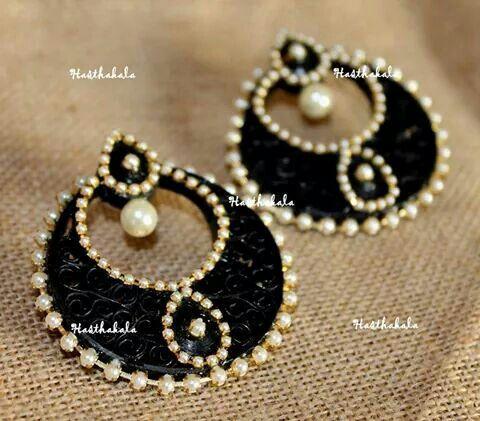 Ramleela paper earrings made with paper on www.facebook.com/hasthakala2014
