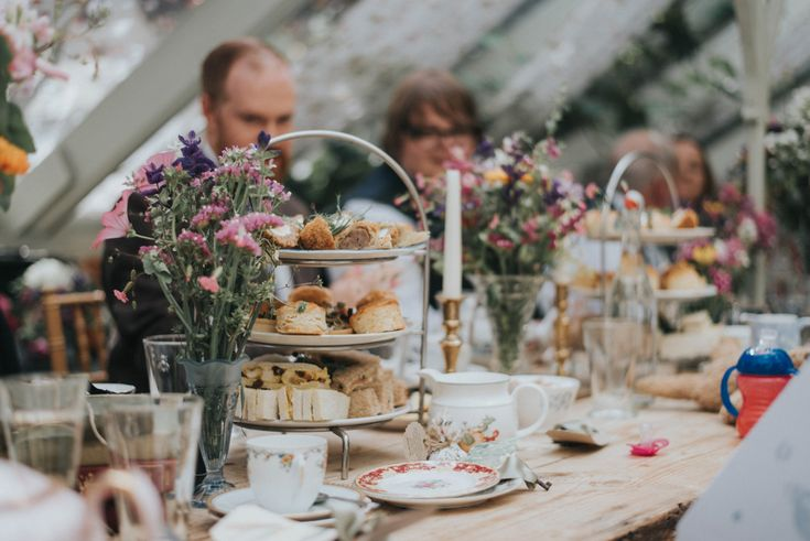 Afternoon Tea Wedding Breakfast - Bai & Elle Weddings Photography & Film   Intimate Budget Wedding at The Secret Garden, Kent   DIY Decor   High Street Wedding Dress   Floral Lindybop Bridesmaid Dresses   Homemade Cake Upcycled and recycled wedding accessories all personalise this beautiful day.
