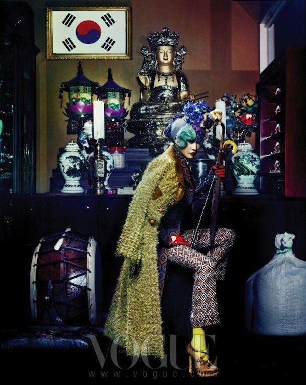 """Senior Style"" by  Hyea W. Kang, Anna Piaggi, Lynn Yaeger and Iris Apfel Impersonations, Vogue Korea"