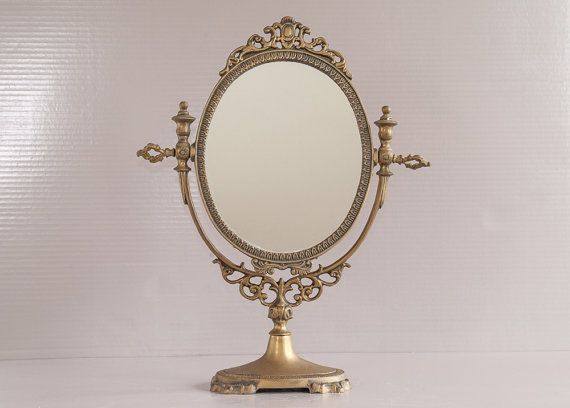 Brass table Mirror | Ornate Mirror | Vanity Oval Mirror | Footed Mirror |  French Psyche Mirror | Dressing Table Mirror | Dresser Mirror