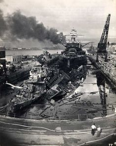 Pearl Harbor December 7, 1941 - USS Cassin, USS Downes, USS Pennsylvania in dry dock