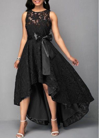 c0c062da9fa Sleeveless High Low Black Belted Lace Dress