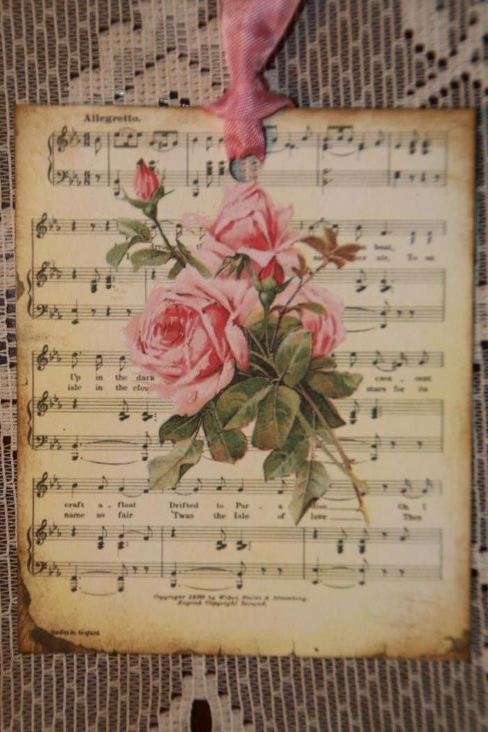 Romantic Music Sheet Pink Roses Gift Tags. via Etsy. Shabby Chic Romantic Cottage <3