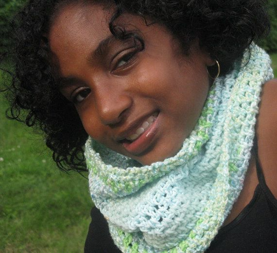 Cowl / Neck Warmer in cool greens $34.97 #crochet #gift