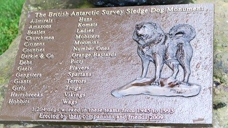 Plaque on the sled dog monument at the Scott Polar Research Institute, Cambridge | Jill Browne