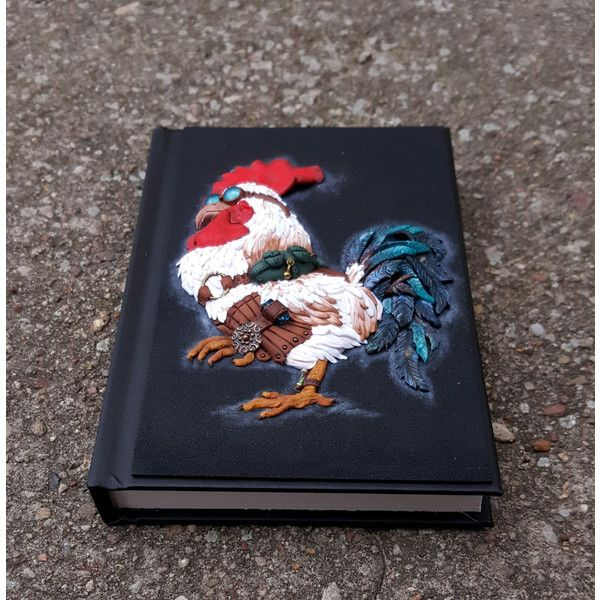 Journal notebook sketchbook book cover art cockerel rooster hand made... (335 PLN) via Polyvore featuring men's fashion, men's grooming and mens grooming