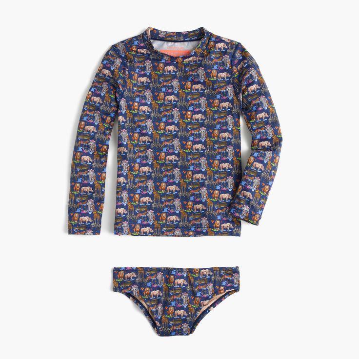 This rash guard set is awesome! Love the zoo pattern! J Crew Sizes 2-10