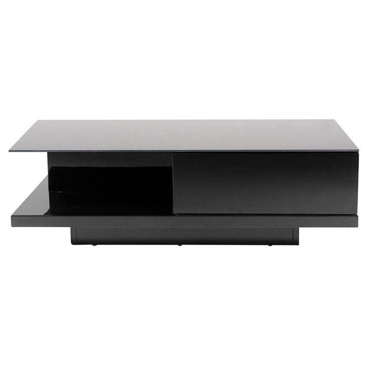 Synoun Couchtisch schwarz Hochglanz mit Schublade 120x60 cm »Clara«
