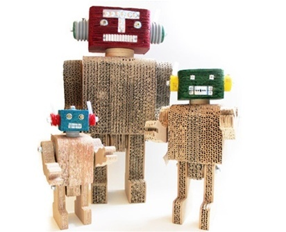 Who can resist these fun and playful robots? This is the perfect thing for the kids or for a robot collector too! Each robot is made from recycled cardboard, posters, metal bolts and bottle caps.
