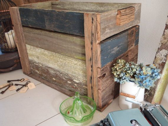 Rustic Timber Crate Firewood Box Magazine Holder By WhoTheDickens, $85.00