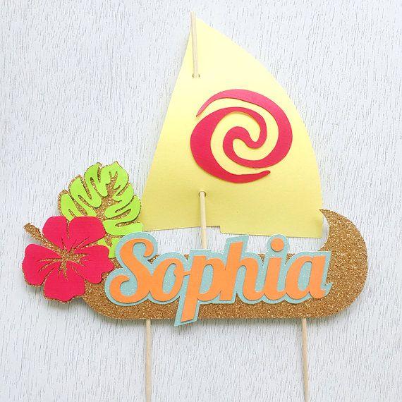 Torta de barco de vela Moana personalizadas Topper por perlaospot